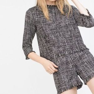 Zara Tweed & Fringe Hem Boucle Top Small Black